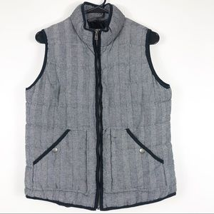 Black and White Tweed Zip Up Vest Size Large